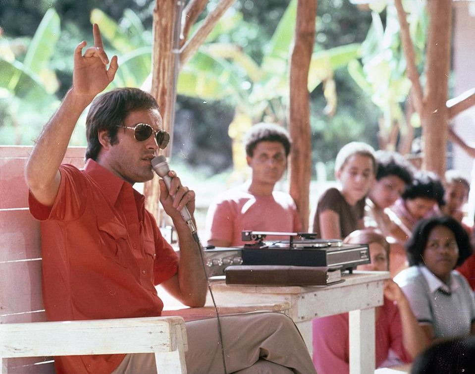 """<p><b>Aired:</b> April 15-16, 1980 on CBS<br><b>Stars:</b> Powers Boothe, LeVar Burton, Randy Quaid, James Earl Jones, Ned Beatty, and Irene Cara<br><br><b>Ripped from the headlines about:</b> Jim Jones (Emmy winner Boothe), the Peoples Temple cult figure who led more than 900 people, including 300 children, to commit a mass suicide via cyanide in 1978 in Guyana. The concept of followers """"drinking the Kool-Aid"""" sparked from the tragedy, but it was actually grape Flavor-Aid, not Kool-Aid, that was mixed with poison for the mass suicide. <br><br><i>(Credit: Getty Images)</i> </p>"""