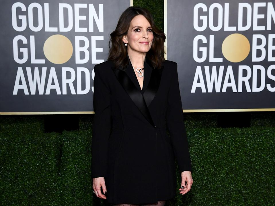 Tina Fey arrives for the 2021 Golden Globes at the Rainbow Room in New York City on 28 February 2021 (Dimitrios Kambouris/Getty Images for Hollywood Foreign Press Association)