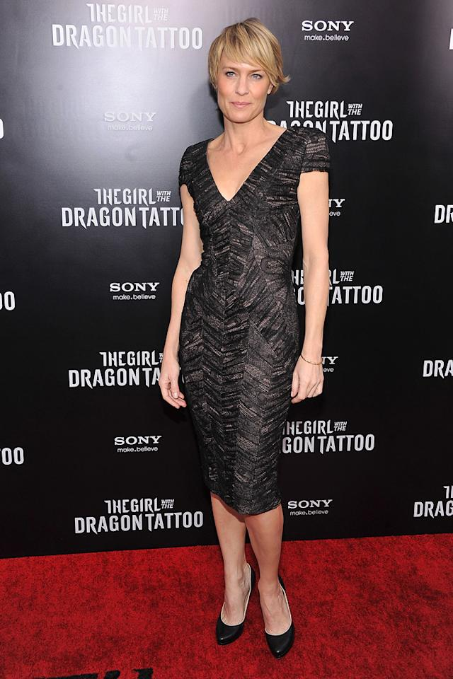 """<a href=""""http://movies.yahoo.com/movie/contributor/1800019047"""">Robin Wright</a> at the New York premiere of <a href=""""http://movies.yahoo.com/movie/1810163569/info"""">The Girl With the Dragon Tattoo</a> on December 14, 2011."""