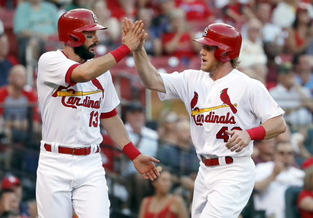 "<a class=""link rapid-noclick-resp"" href=""/mlb/players/8953/"" data-ylk=""slk:Matt Carpenter"">Matt Carpenter</a> (left) and <a class=""link rapid-noclick-resp"" href=""/mlb/players/10591/"" data-ylk=""slk:Harrison Bader"">Harrison Bader</a> have been carrying the Cardinals offense of late (AP Photo/Jeff Roberson)"