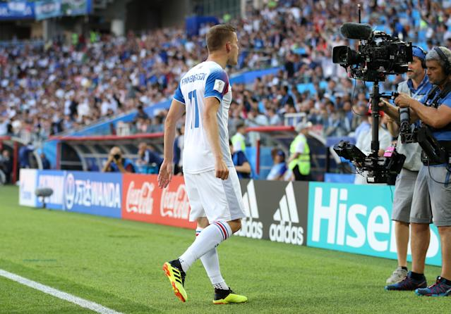 <p>Iceland gets a close up view of their goalscoring hero </p>