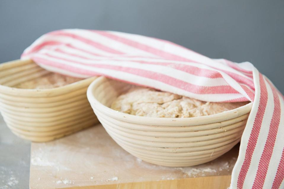"""<h1 class=""""title"""">Bread Dough Rising in a Banneton</h1> <div class=""""caption""""> <a href=""""https://www.epicurious.com/expert-advice/bread-baking-tools-gear-equipment-for-advanced-bakers-article?mbid=synd_yahoo_rss"""" rel=""""nofollow noopener"""" target=""""_blank"""" data-ylk=""""slk:This basket"""" class=""""link rapid-noclick-resp"""">This basket</a>, called a banneton, helps the dough maintain its shape while rising. </div> <cite class=""""credit"""">Photo by Shutterstock</cite>"""