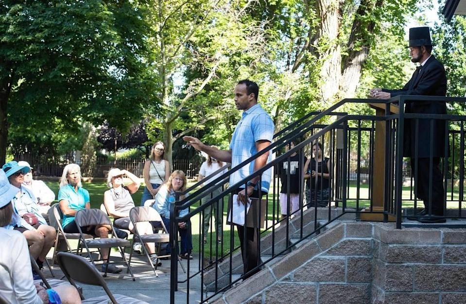 Phillip Thompson, board president and director of the Idaho Black History Museum, speaks during a Juneteenth celebration at the Idaho Black History Museum in Boise on Saturday, June 19, 2021. Juneteeth was made a federal holiday this year.