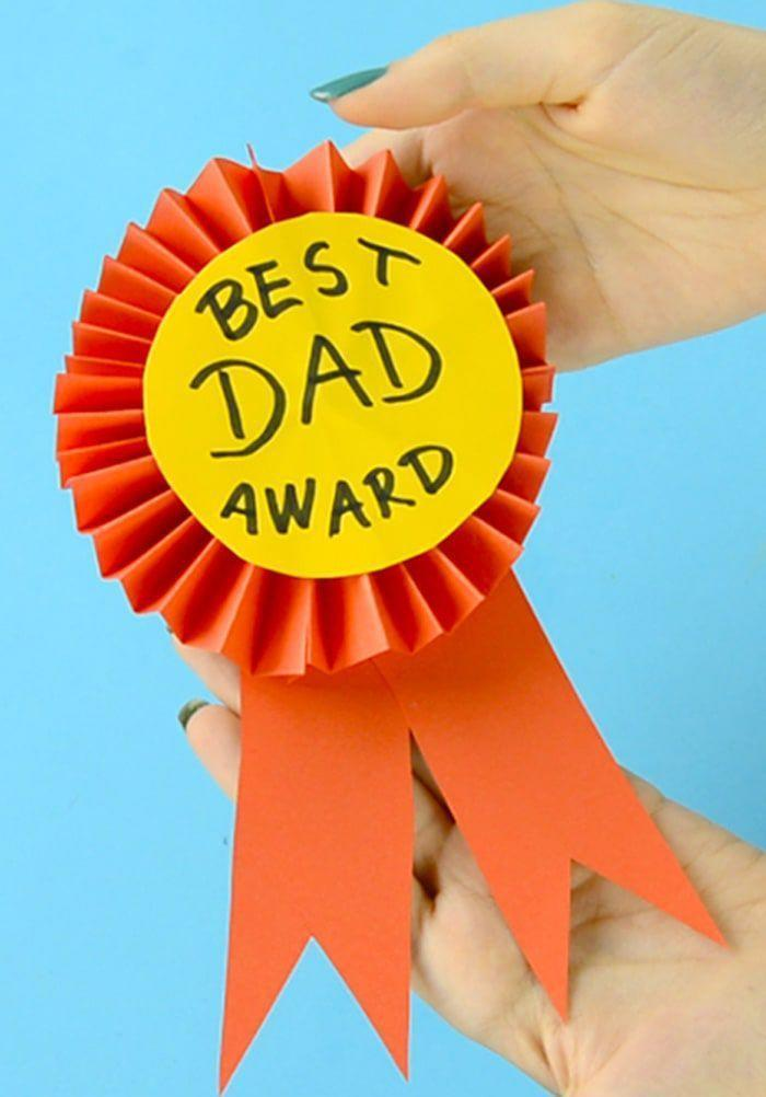 """<p>This gift idea doesn't require complicated skills to show dad that he's #1. When you're done with it, stick a safety pin on the back so he can wear it all day Father's Day! </p><p><em><a href=""""https://www.easypeasyandfun.com/award-ribbon/?"""" rel=""""nofollow noopener"""" target=""""_blank"""" data-ylk=""""slk:Get the tutorial at Easy Peasy and Fun »"""" class=""""link rapid-noclick-resp"""">Get the tutorial at Easy Peasy and Fun »</a></em></p>"""
