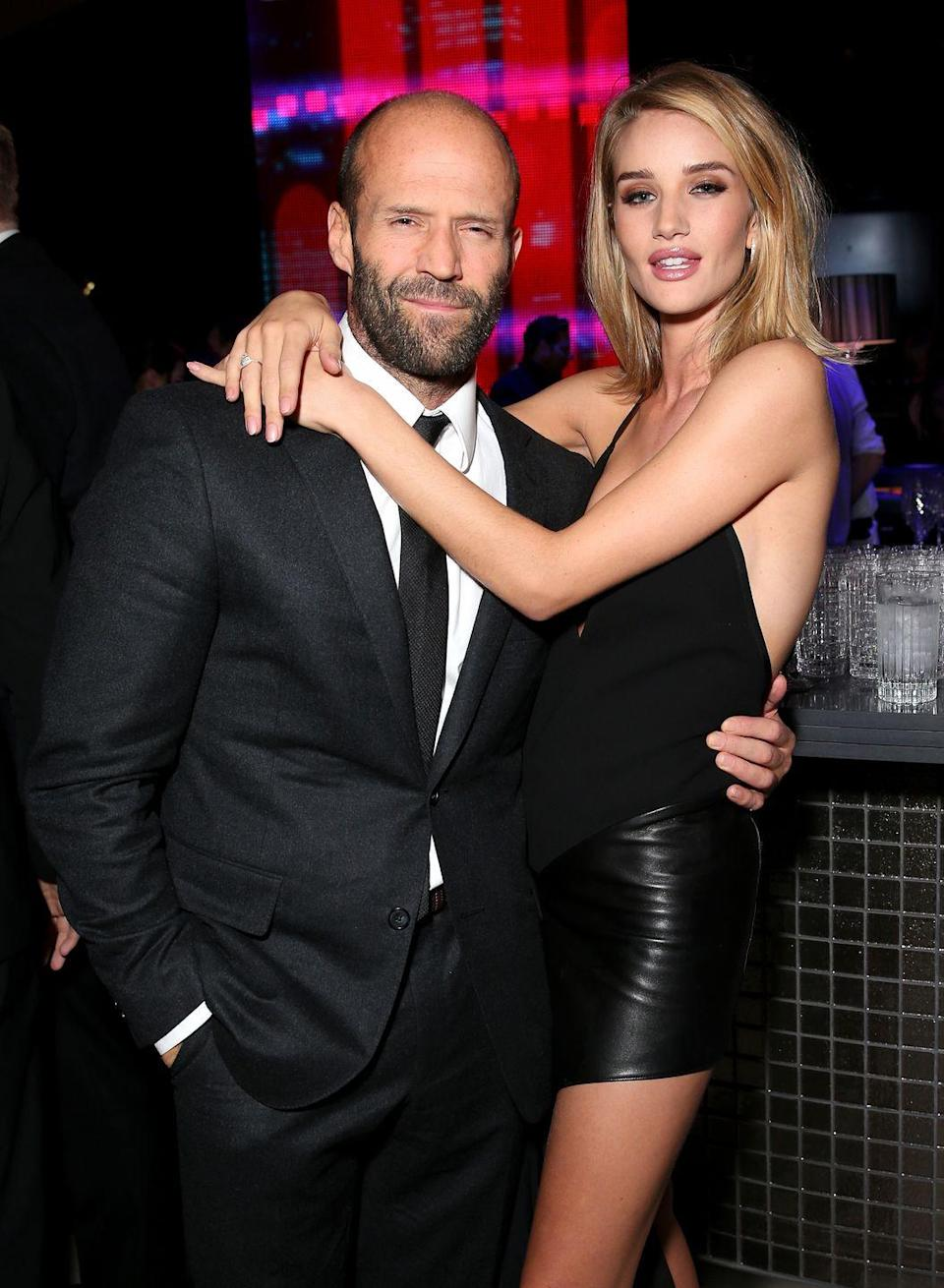 <p><strong>Age gap: </strong>20 years</p><p>Jason and Rosie met while filming <em>Transformers: Dark of the Moon</em> together in 2010 and began dating the same year. The two have been engaged since 2016 and welcomed their son, Jack Oscar Statham, a year later.</p>