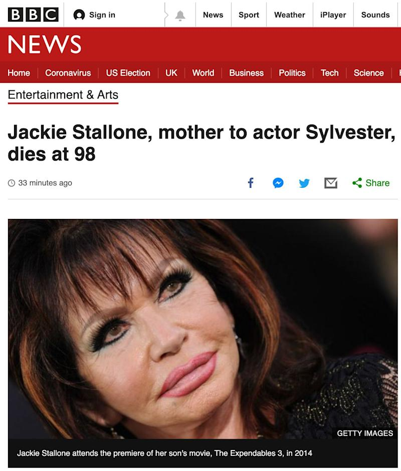 The death of Jackie Stallone (Photo: BBC)