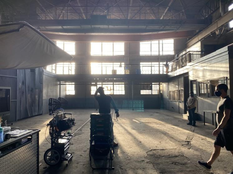 """The set of """"Songbird,"""" a thriller set during the pandemic, and shot in Los Angeles in July, 2020."""
