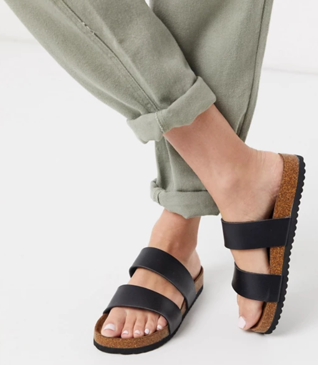 South Beach Exclusive double strap slide sandals in black, $30 from ASOS. Photo: ASOS.
