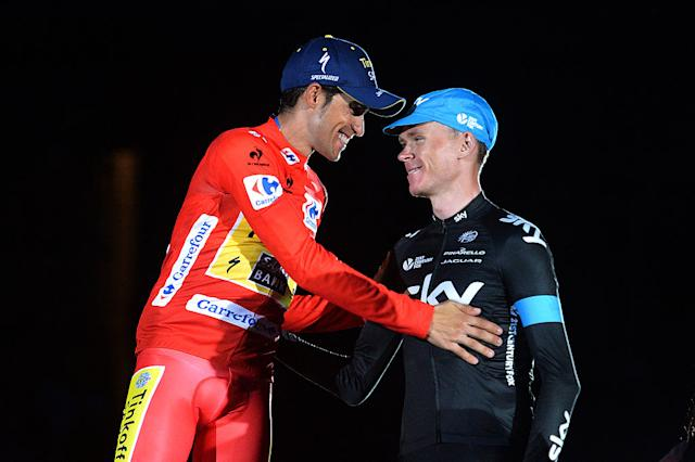 Contador and Froome on the podium of the 2014 Vuelta a España
