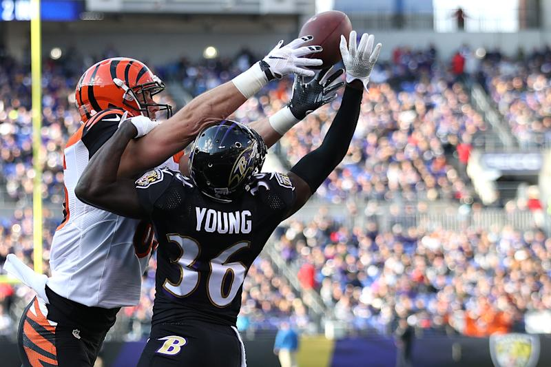 BALTIMORE, MD - NOVEMBER 27: Cornerback Tavon Young #36 of the Baltimore Ravens breaks up a pass intended for tight end Tyler Eifert #85 of the Cincinnati Bengals in the second quarter at M&T Bank Stadium on November 27, 2016 in Baltimore, Maryland. (Photo by Patrick Smith/Getty Images)
