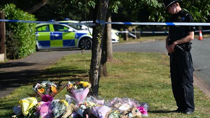 Floral tributes placed near Wigginton Park,UK, after Keeley Bunker's body was found. Source: Jacob King/PA.