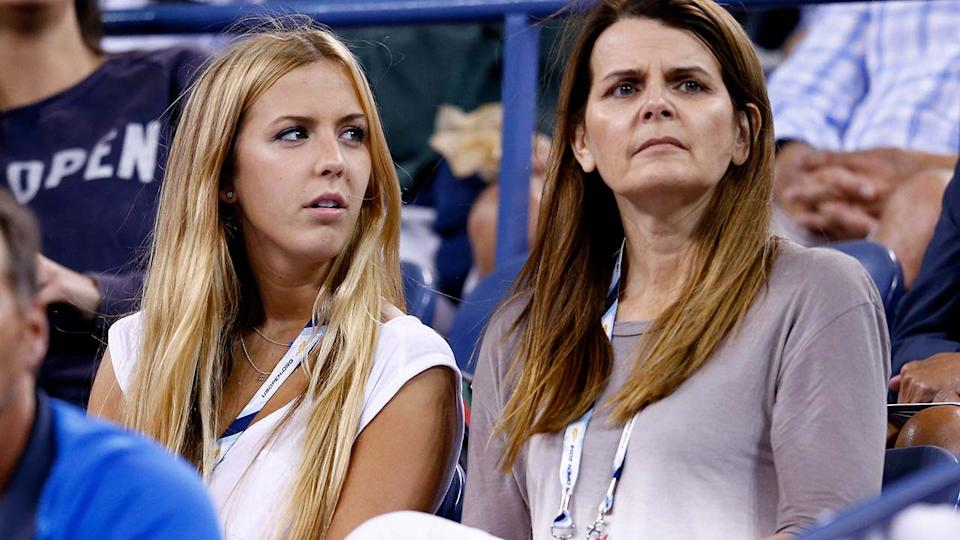 Beatrice Bouchard and mother Julie, pictured here watching Eugenie at the US Open in 2014.