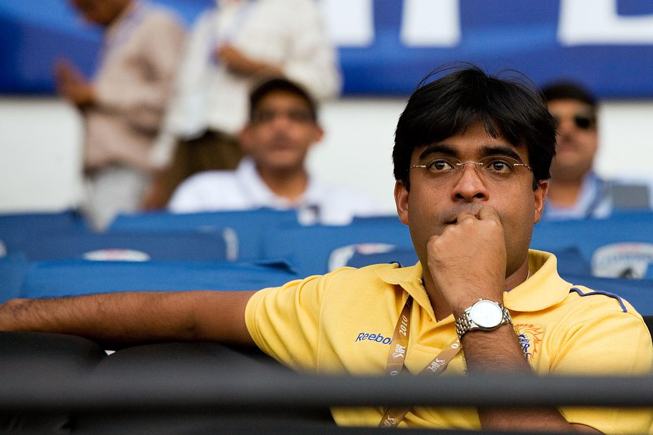 NAGPUR, INDIA - APRIL 10:  Chennai Super Kings's owner Gurunath Meiyappan during the 2010 DLF Indian Premier League T20 group stage match between Deccan Chargers and Chennai Super Kings played at the VCA Stadium on April 10, 2010 in Nagpur, India.  (Photo by Ritam Banerjee-IPL 2010/IPL via Getty Images)