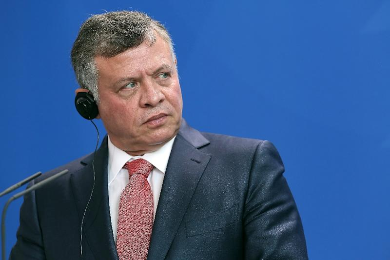 "Jordan's King Abdullah II, seen in Berlin on May 13, 2015, warned Israel that any further ""provocation"" in Jerusalem, where Israeli police have clashed with Muslims at Al-Aqsa mosque, would damage ties between the two countries"