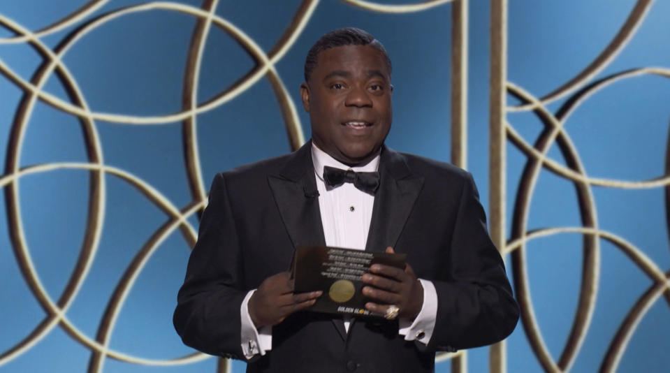 In this video grab issued Sunday, Feb. 28, 2021, by NBC, Tracy Morgan presents an award at the Golden Globe Awards. (NBC via AP)