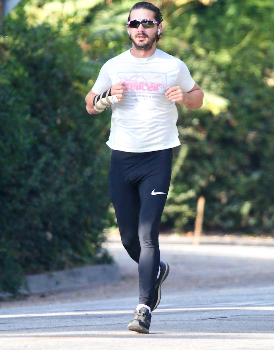 <p>Shia LaBeouf goes for a jog on Friday in L.A., wearing sunglasses, joggers and a t-shirt.</p>