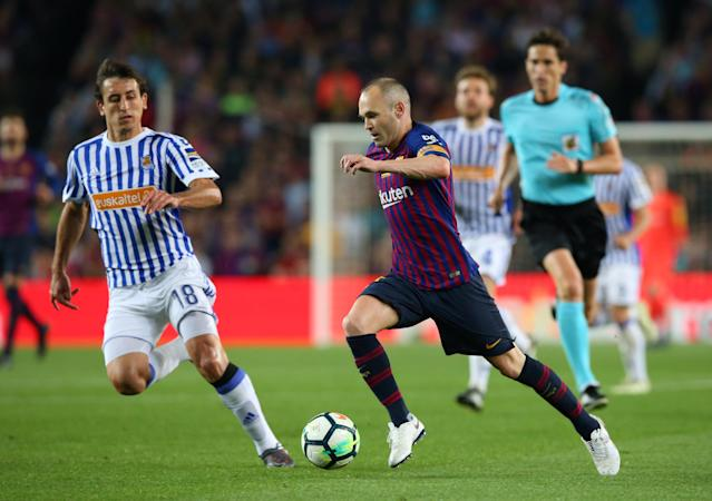 Soccer Football - La Liga Santander - FC Barcelona vs Real Sociedad - Camp Nou, Barcelona, Spain - May 20, 2018 Barcelona's Andres Iniesta in action REUTERS/Albert Gea