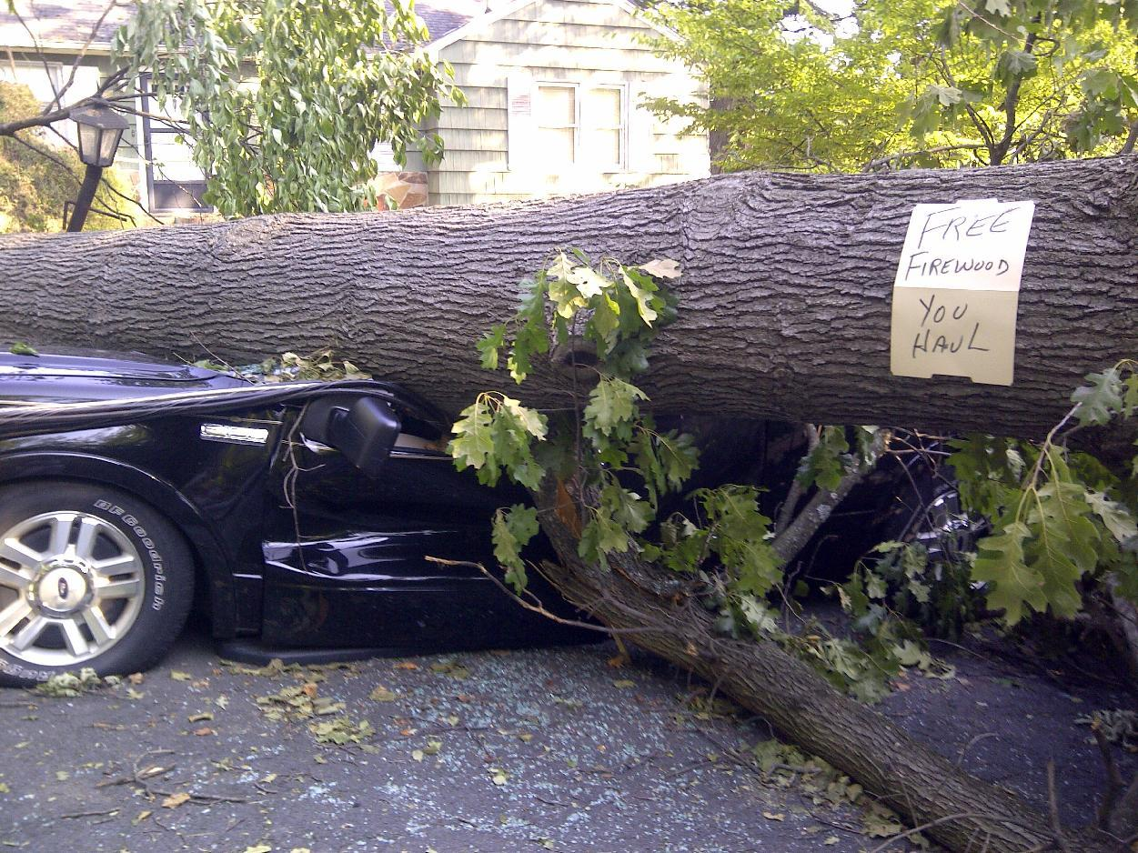 A tree sitting atop a vehicle offers free firewood in Falls Church, Va., Monday, July, 2, 2012, as cleanup continued after Friday's storm, Around 2 million utility customers are without electricity across a swath of states along the East Coast and as far west as Illinois as the area recovers from a round of summer storms that has also caused at least 17 deaths. (AP Photo/Karen Mahabir)