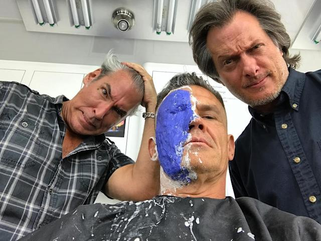 "<p>Brolin preps for work on June 28, writing: ""insanity on the brink. Face is morphing into something machine, fierce, hair sliced, arm machined, bulged. Where is Deadpool?!? Looking. Looking. All I got are these two…molding me, prodding, turning me into something hard."" (Photo: <a href=""https://www.instagram.com/p/BV5Bcbiho9Z/"" rel=""nofollow noopener"" target=""_blank"" data-ylk=""slk:joshbrolin/Instagram"" class=""link rapid-noclick-resp"">joshbrolin/Instagram</a>) </p>"