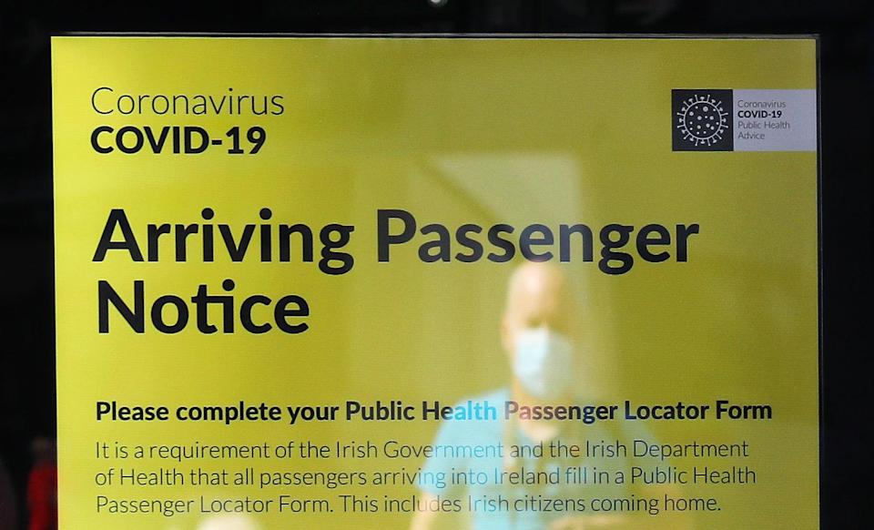 Those arriving from abroad need to fill in a passenger locator form (Brian Lawless/PA) (PA Archive)