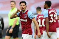 West Ham midfielder Pablo Fornals celebrates his goal against Doncaster in the FA Cup fourth round