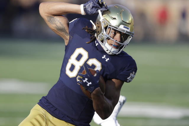 Notre Dame wide receiver Chase Claypool has scored 12 TDs in 2019. (AP Photo/Darron Cummings)