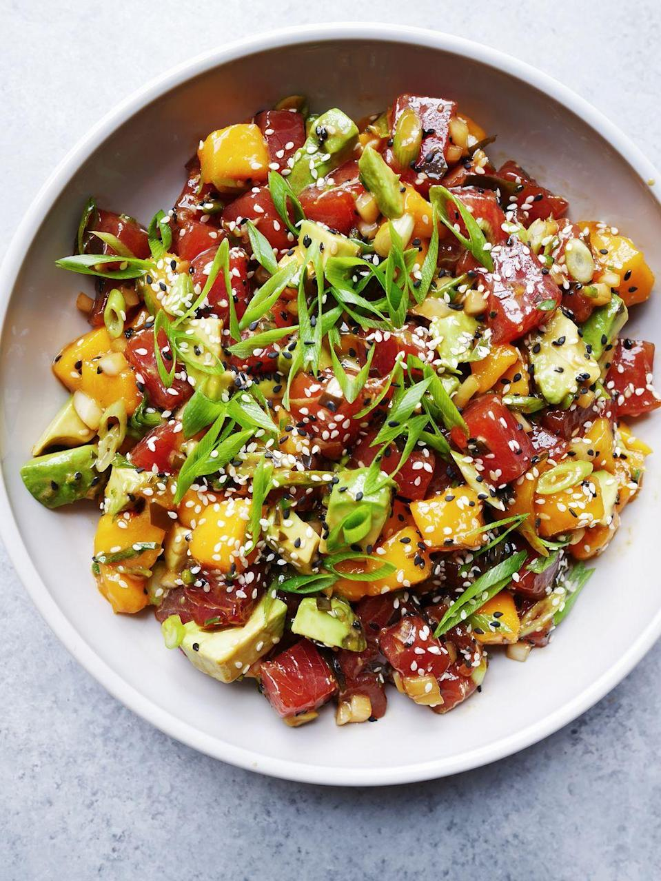"""<p>This poke salad is way better than anything you'll find on a restaurant menu.</p><p>Get the recipe from <a href=""""https://www.delish.com/cooking/recipe-ideas/a21084381/best-poke-salad-recipe/"""" rel=""""nofollow noopener"""" target=""""_blank"""" data-ylk=""""slk:Delish"""" class=""""link rapid-noclick-resp"""">Delish</a>.</p>"""