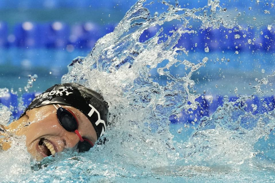 Katie Ledecky participates in the Women's 400 Freestyle during wave 2 of the U.S. Olympic Swim Trials on Monday, June 14, 2021, in Omaha, Neb. (AP Photo/Charlie Neibergall)