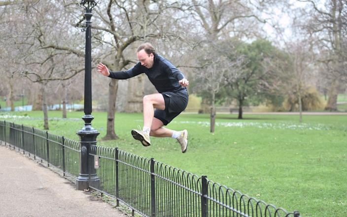 Matt Hancock added in some jumps as part of his exercise routine - Jeremy Selwyn