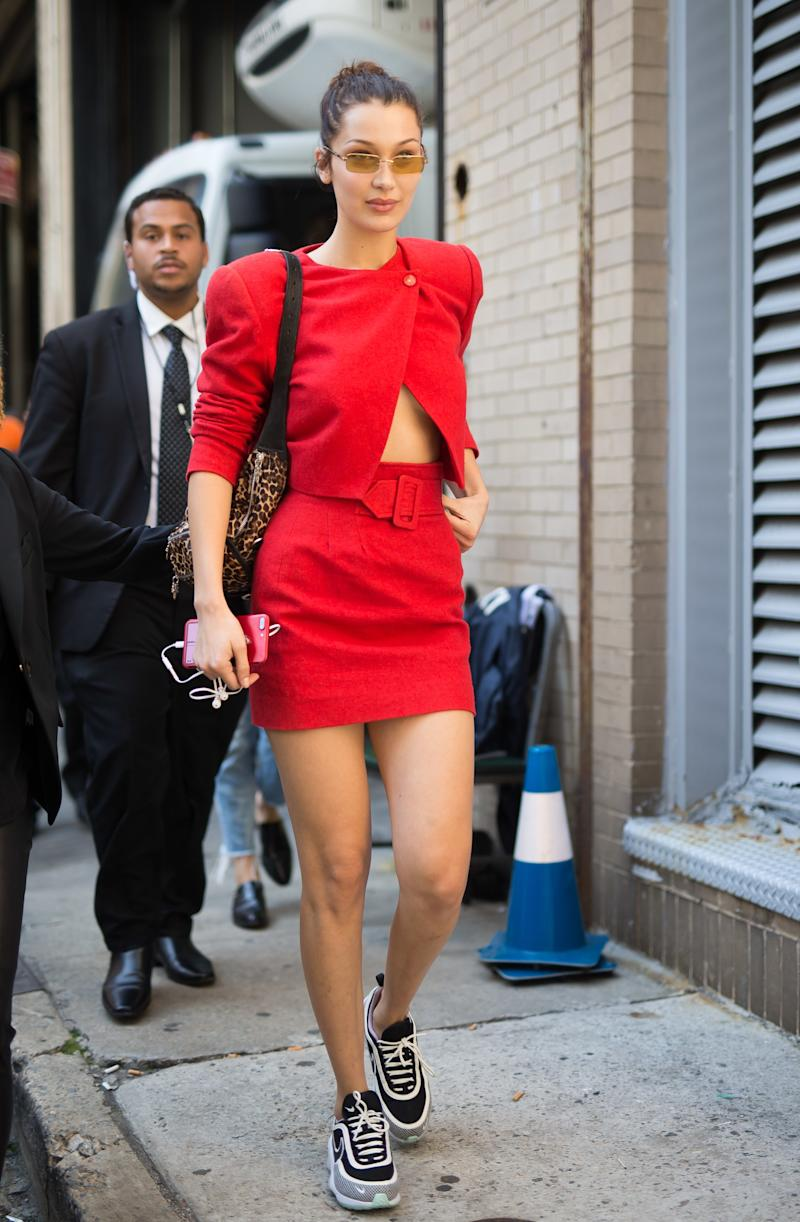 Bella Hadid is seen on September 13, 2017 in New York City. (Photo by Team GT/GC Images)