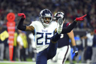 Tennessee Titans cornerback Logan Ryan (26) celebrates after sacking Houston Texans quarterback AJ McCarron during the second half of an NFL football game Sunday, Dec. 29, 2019, in Houston. (AP Photo/Eric Christian Smith)