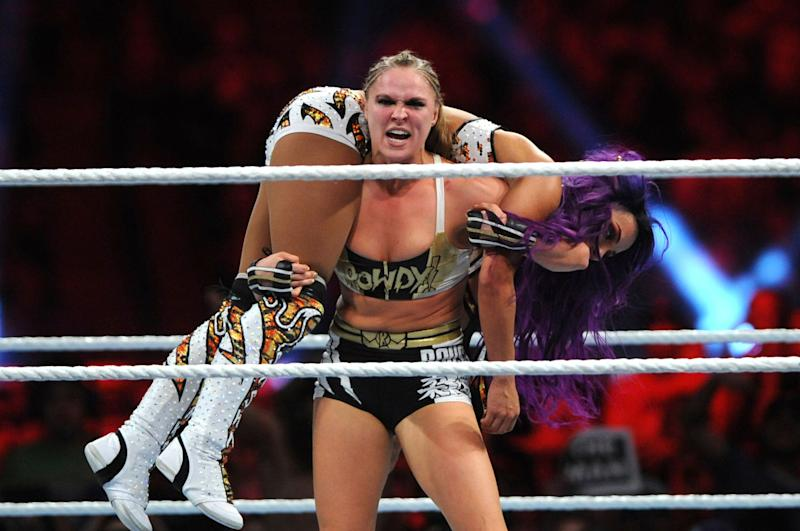 PHOENIX, AZ - JANUARY 27: Ronda Rousey and Sasha Banks at WWE's 2019 Royal Rumble in Phoenix, Arizona on January 27, 2019. Credit: George Napolitano/MediaPunch /IPX