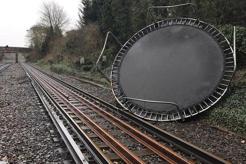 High jump: a trampoline dropped in on the London-Chatham main line in Kent: Southeastern