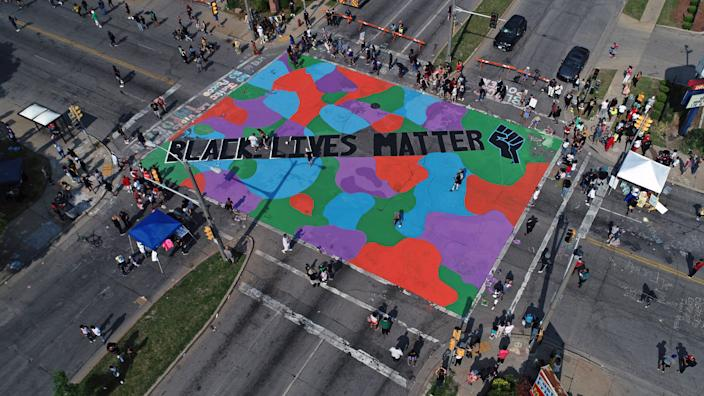 A Black Lives Matter Mural was painted at the intersection of W. Locust St. and N. Martin Luther King Drive on Friday, June 19, 2020 in Milwaukee.