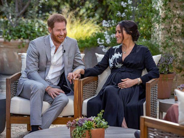 PHOTO: Prince Harry and Meghan, The Duke and Duchess of Sussex, give an interview to Oprah Winfrey that aired on March 7, 2021. (Joe Pugliese/Harpo Productions via Reuters)