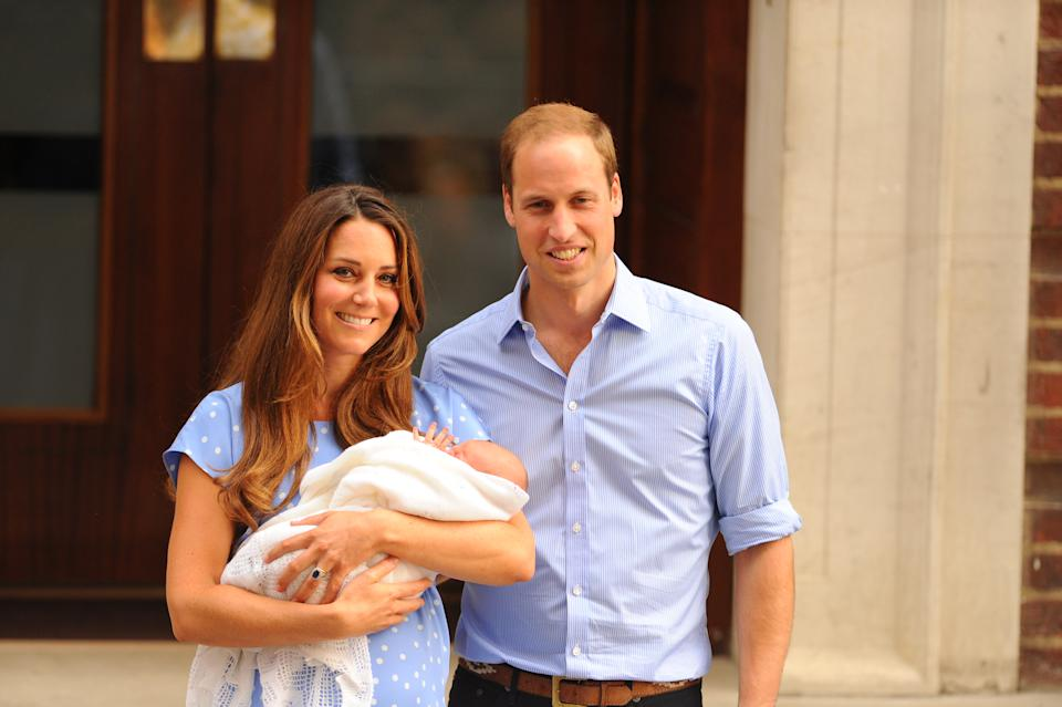 The Duke and Duchess of Cambridge leave the Lindo Wing of St Mary's Hospital in London, with their newborn  son, Prince George of Cambridge.   (Photo by Dominic Lipinski/PA Images via Getty Images)