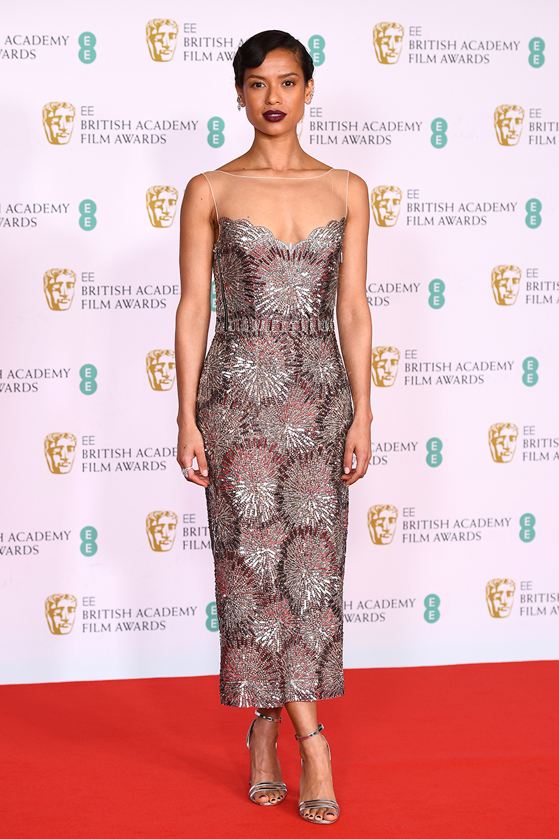 <p>Gugu Mbatha-Raw looks nothing less than flawless in this strapless metallic dress.</p>