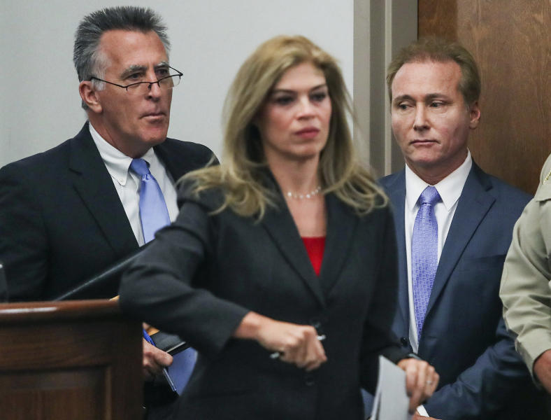 Rene Boucher, right, appears in court for an arraignment hearing with his attorney Matt Baker, left, and Warren County Attorney Amy Milliken, center, on Thursday, Nov. 9, 2017, at the Warren County Justice Center. Boucher, U.S. Sen. Rand Paul's long-time neighbor pleaded not guilty Thursday to charges that he assaulted the Kentucky Republican while he was mowing his lawn. (Austin Anthony/Daily News via AP)