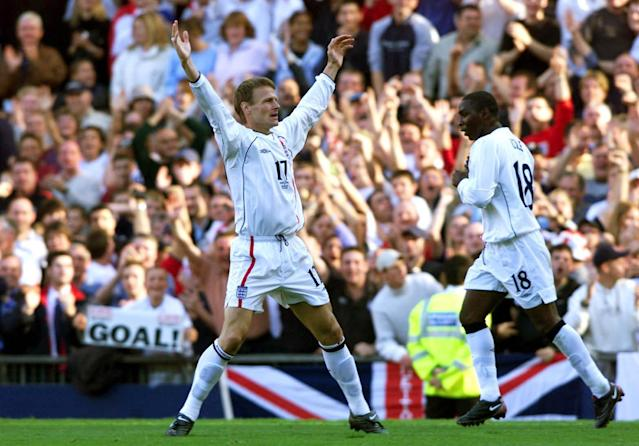 <p>Teddy Sheringham celebrates scoring against Greece in 2001 – Yahoo Sport looks at the oldest top 10 goalscorers for England after Jermain Defoe's strike against Lithuania </p>