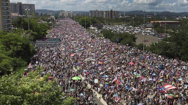 PHOTO: An aerial view from a drone shows thousands of people as they fill the Expreso Las Americas highway, July 22, 2019, in San Juan, Puerto Rico. (Joe Raedle/Getty Images)
