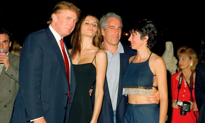 From left, Donald Trump and his future wife, Melania Knauss, financier Jeffrey Epstein, and Ghislaine Maxwell pose together at Mar-a-Lago in 2000.