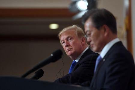 FILE PHOTO - U.S. President Trump and South Korea's President Moon Jae-in hold a joint press conference in Seoul