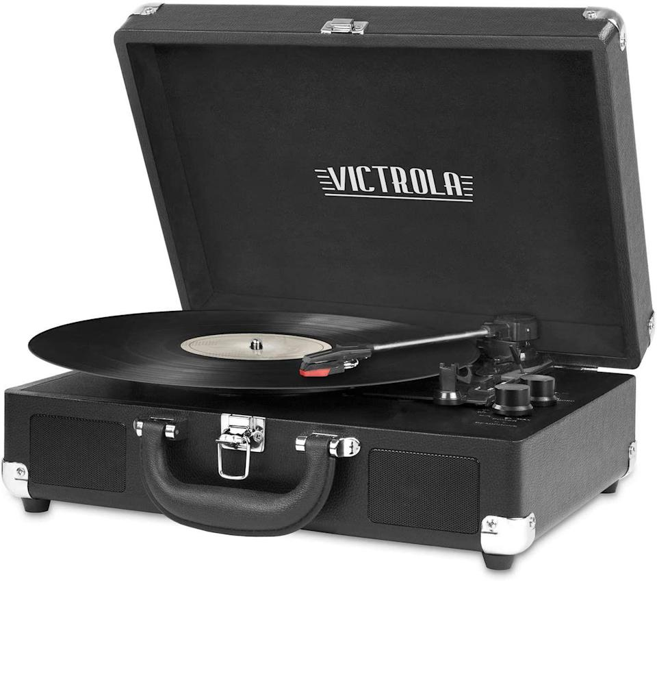 """<p><strong>Victrola</strong></p><p>amazon.com</p><p><strong>$44.99</strong></p><p><a href=""""https://www.amazon.com/dp/B00UMVW4VA?tag=syn-yahoo-20&ascsubtag=%5Bartid%7C10054.g.35269584%5Bsrc%7Cyahoo-us"""" rel=""""nofollow noopener"""" target=""""_blank"""" data-ylk=""""slk:Buy"""" class=""""link rapid-noclick-resp"""">Buy</a></p><p>Yes, price matters when you're getting into the complexities of turntables, but if you're looking for a reasonably cheap gift that will launch someone into the record player world, this Victrola is <em>plenty</em> acceptable.</p><p>The design is the truly fun part. Styled to look like a briefcase, you can pack it up and go. No, it's not a majorly professional setup, but if you want to cart a reasonable record player to a gettogether, with bells and whistles like a built-in speaker and Bluetooth capability included, this is an affordable option under the classic Victrola name.</p>"""