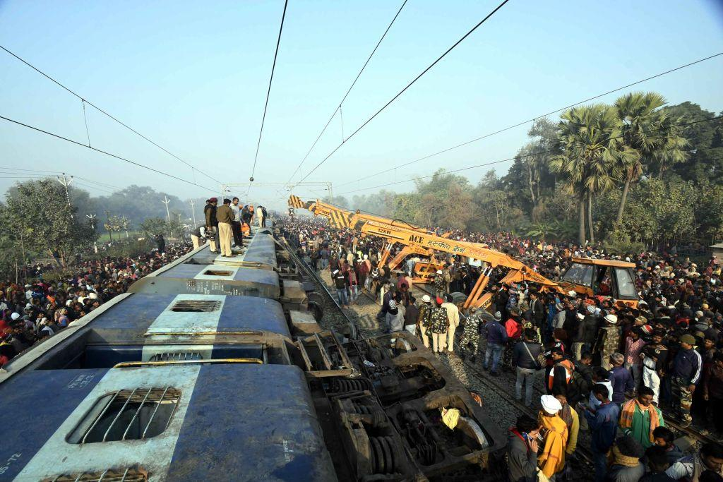 <p>Rescue and relief work in progress after the passenger train Seemanchal express derailed at Shahdai Buzurg station in Vaishali district of Bihar, on Feb. 3, 2019 in Vaishali, India. In a major train mishap, at least seven people died and as many as 24 people were injured after 11 coaches of the Delhi-bound Seemanchal Express derailed in Vaishali district of Bihar. The accident reportedly took place in Sahadai Buzurg at 3:58am on Sunday morning. (Photo from Santosh Kumar/Hindustan Times via Getty Images) </p>