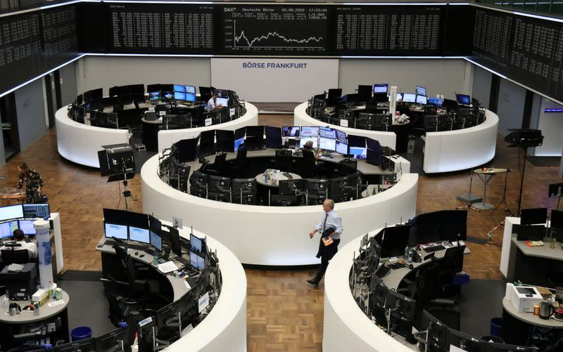 European stocks end lower as heavyweight resource players weigh