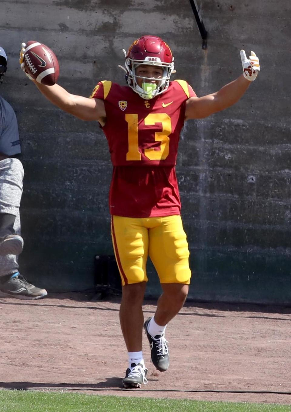 USC wide receiver Michael Jackson celebrates a touchdown during the spring game April 17, 2021.