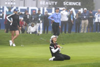 Min Lee reacts after missing an eagle putt on the 18th green at Lake Merced Golf Club during the final round of the LPGA Mediheal Championship golf tournament Sunday, June 13, 2021, in Daly City, Calif. (AP Photo/Tony Avelar)