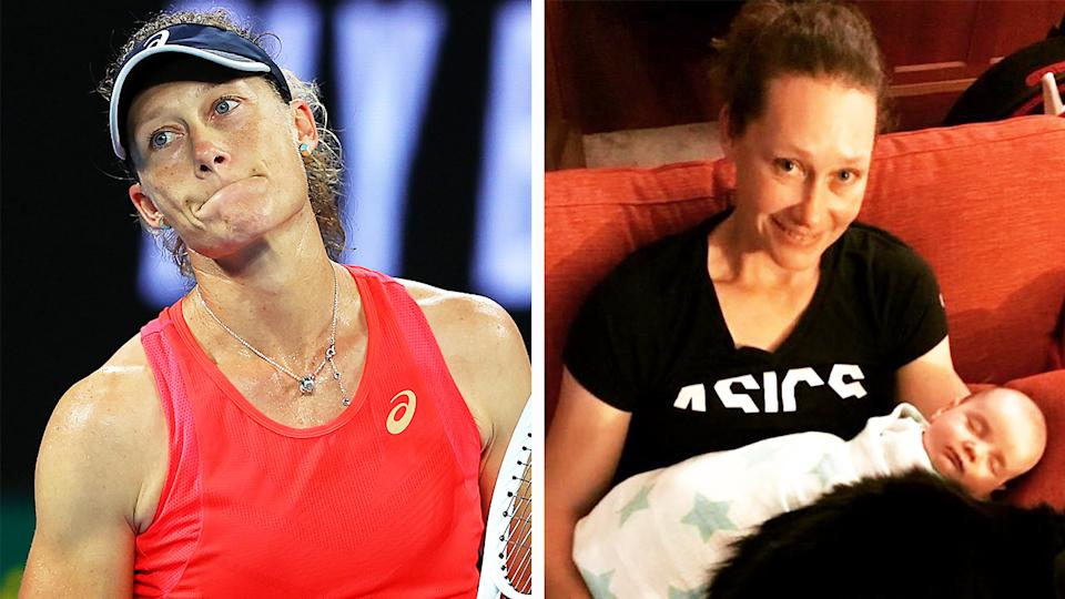 Samantha Stosur (pictured left) after losing a point at the Australian Open and holding her daughter (pictured right).