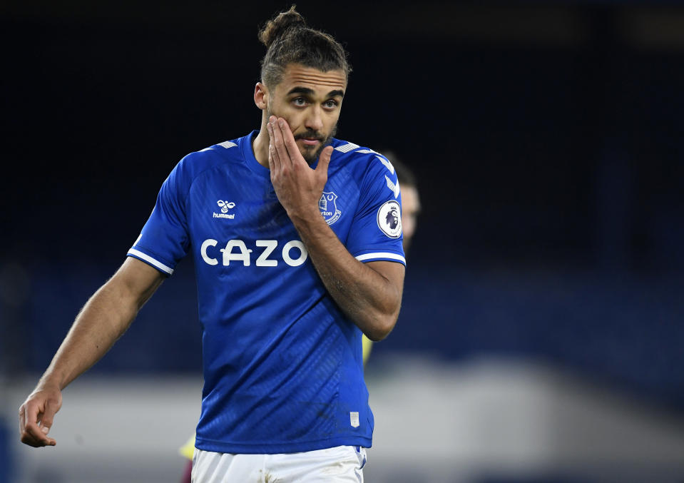 Everton's Dominic Calvert-Lewin reacts during the English Premier League soccer match between Everton and Burnley at Goodison Park in Liverpool, England, Saturday, March 13, 2021. (Peter Powell/Pool via AP)