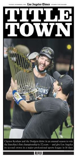 The cover of the Los Angeles Times' Dodgers special section